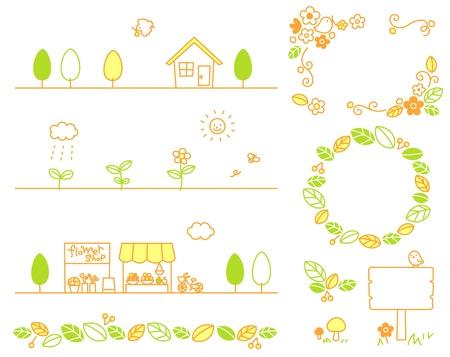 잎,가, 꽃, 상점, 숲, 생태 일러스트