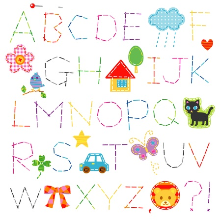alphabet, stitch, font Vector