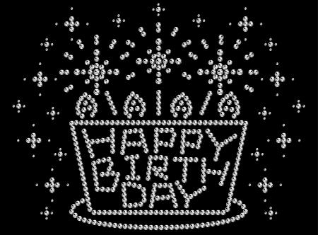 HAPPY BIRTH DAY, rhinestones