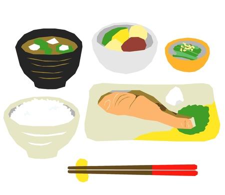 dikon: Cena de comida japonesa, salmón Vectores