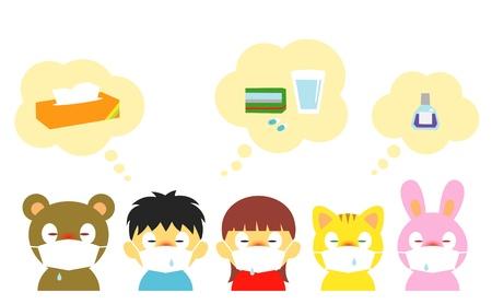 sinusitis: kids, allergy, cold, mask Illustration