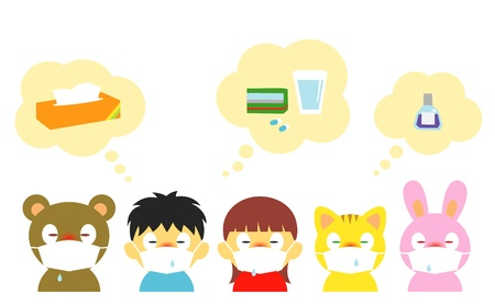 allergy: kids, allergy, cold, mask Illustration