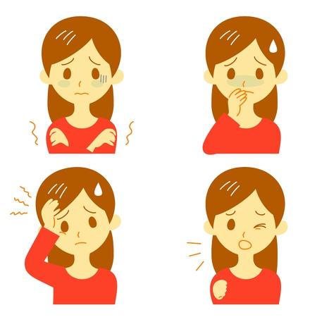 Síntomas de la enfermedad 01, fiebre y escalofríos, dolor de cabeza, náuseas, tos, expresiones, mujer