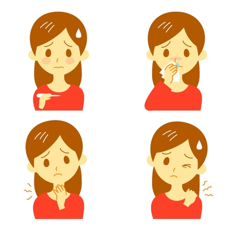 s�ntomas: S�ntomas de la Enfermedad 02, fiebre, dolor de garganta, nariz que gotea, hombros r�gidos Vectores