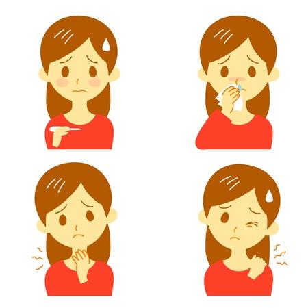 Ziekte Symptomen 02, koorts, keelpijn, druipende neus, stijve schouders Stock Illustratie