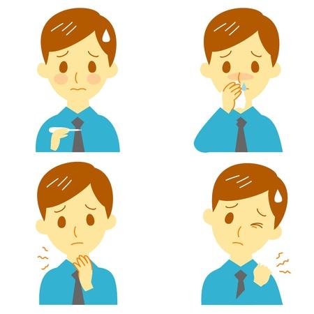 Symptômes de la maladie 02, la fièvre et des maux de gorge et le nez qui goutte, 12288, raideur de la nuque, l'homme