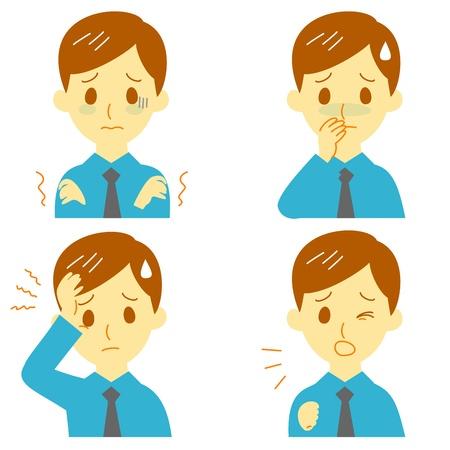 Ziekte Symptomen 01, ziekte symptomen, koorts en rillingen, hoofdpijn, misselijkheid, man Stock Illustratie