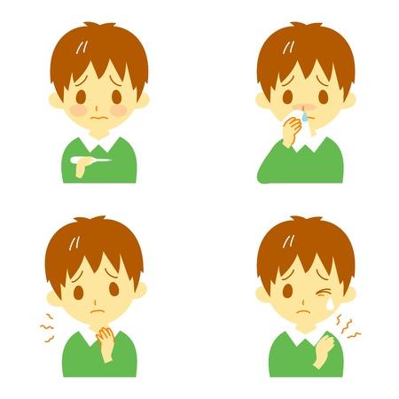 Symptômes de la maladie 02, fièvre, maux de gorge, nez qui coule, raideur de la nuque, des expressions, garçon