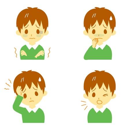 ni�os enfermos: Enfermedades S�ntomas 01, fiebre y escalofr�os, dolor de cabeza, n�useas, tos, expresiones, muchacho Vectores