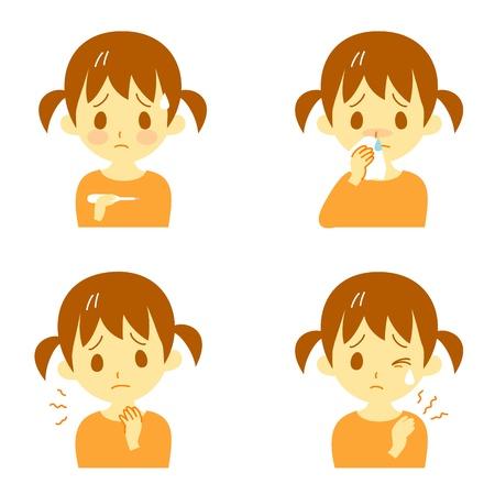 Symptômes de la maladie 02, fièvre, maux de gorge, nez qui coule, raideur de la nuque, expressions, fille