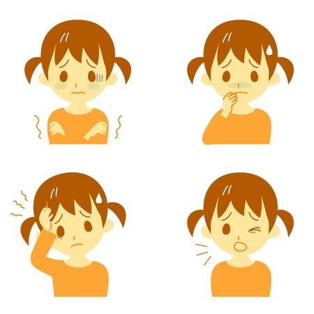 chorowity: Choroba Objawy 01, gorączka i dreszcze, bóle głowy, nudności, kaszel, wyrażenia, dziewczyna Ilustracja