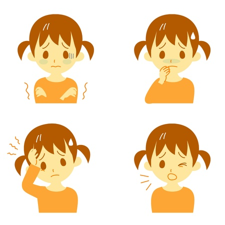 Ziekte Symptomen 01, koorts en rillingen, hoofdpijn, misselijkheid, hoesten, uitdrukkingen, meisje Vector Illustratie
