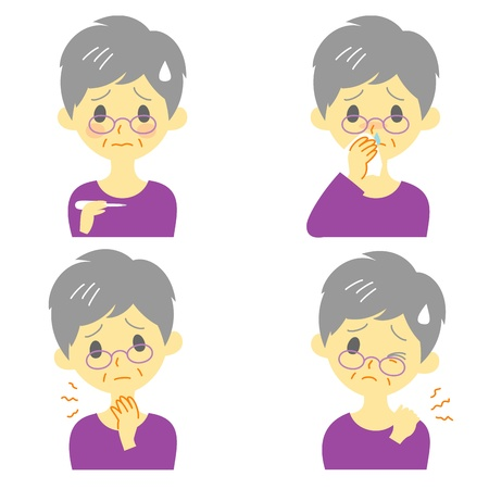 mucus: Disease Symptoms 02, fever, sore throat,dripping nose, stiff neck, expressions, old woman Illustration