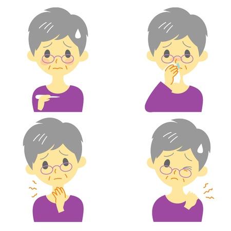 Ziekte Symptomen 02, koorts, keelpijn, snotneus, stijve nek, uitdrukkingen, oude vrouw