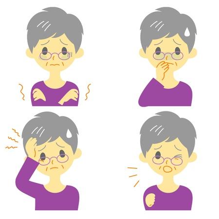 Ziekte Symptomen 01, koorts en koude rillingen, hoofdpijn, misselijkheid, hoesten, uitdrukkingen, oude vrouw Vector Illustratie