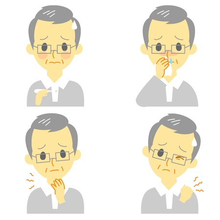 Disease Symptoms 02, fever, sore throat,dripping nose,stiff neck, expressions, old man Vector