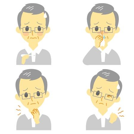 Symptômes de la maladie 02, fièvre, maux de gorge, nez qui coule, raideur de la nuque, expressions, vieil homme