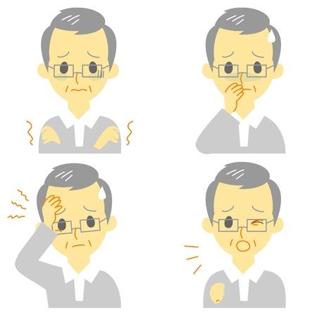 Ziekte Symptomen 01, koorts en koude rillingen, hoofdpijn, misselijkheid, hoesten, uitdrukkingen, oude man