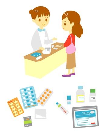 薬剤師の s のオフィスと患者、医療用品