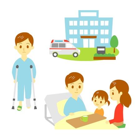 atender: romper un hueso, hombre herido en el hospital, la familia, la enfermer�a Vectores