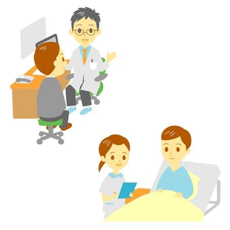 een arts en in het ziekenhuis, man Stock Illustratie
