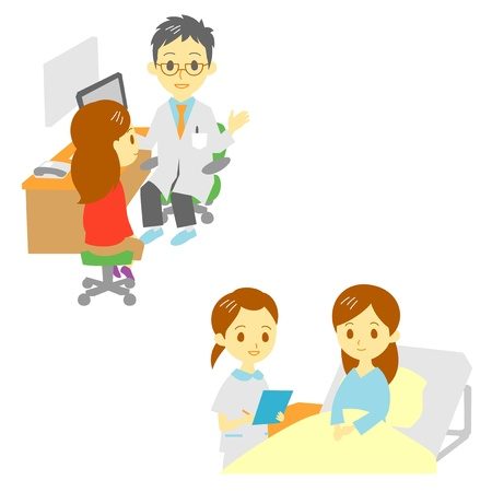 see a doctor: see a doctor and in hospital, woman  Illustration
