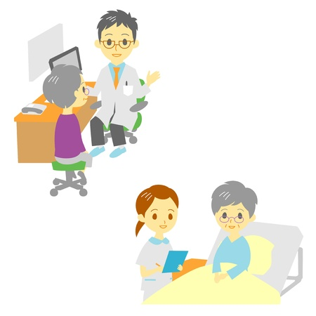 see a doctor and in hospital, old woman Illustration