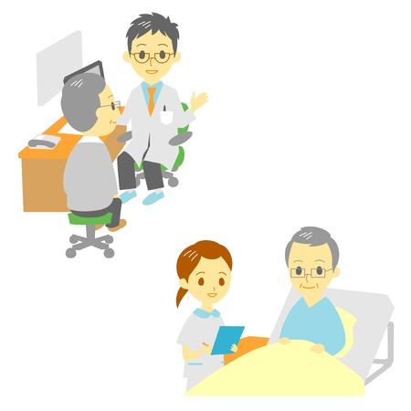haired: see a doctor and in hospital, old man  Illustration