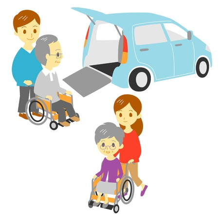 grand son: old people in wheelchair, drive and take a walk, Adapted Vehicle, family Illustration