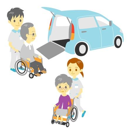 nursing uniforms: ancianos en silla de ruedas, conducir y dar un paseo, veh�culo adaptado, los cuidadores Vectores