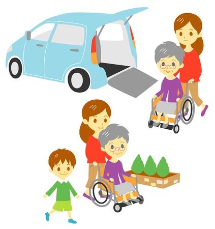 車椅子の老婆、ドライブを散歩、家族、車両の適応  イラスト・ベクター素材