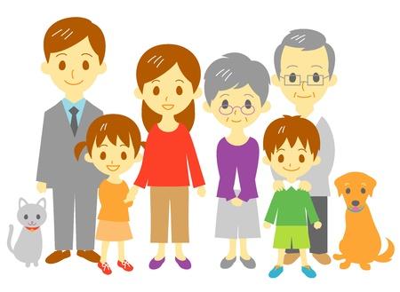 famiglia numerosa: Famiglia madre, padre, figlia, figlio, nonna, nonno, gatto, cane, a figura intera Vettoriali