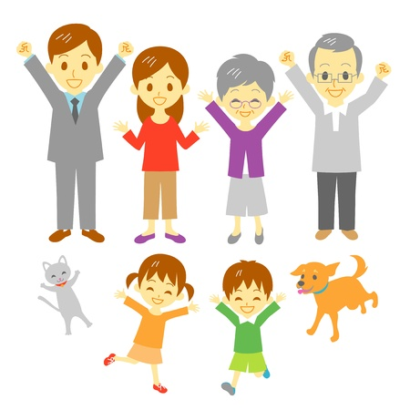 triumphant: Joyful family, three generation family, dog and cat Illustration