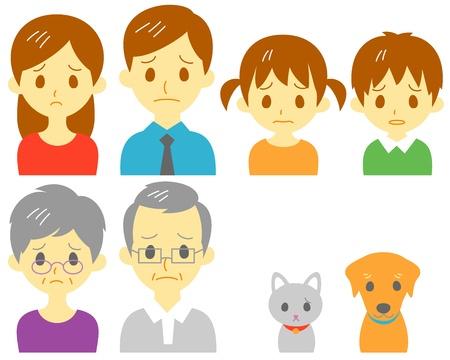 FAMILY, sad expression  イラスト・ベクター素材