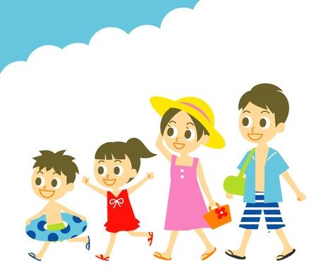 夏休み、家族、水泳の摩耗