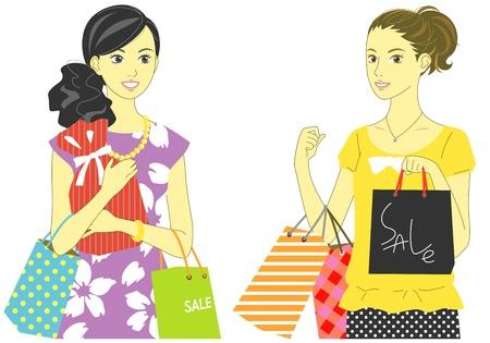 ショッピング、販売、買い物客、女性