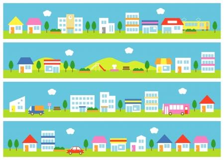 Läden und Häuser auf einer Straße Standard-Bild - 21215437
