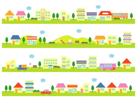 city scape: stores and houses on a street, white background Illustration