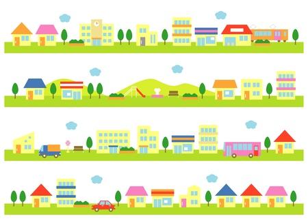winkels en huizen op een straat, witte achtergrond