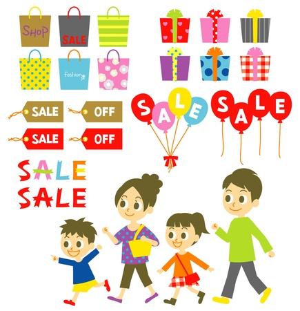 niños con pancarta: Compras de la familia, venta, etiquetas de precio, globos, cajas de regalo, establece Vectores