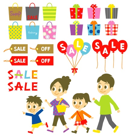 bargain sale: FAMILY shopping, Sale, Price tags, balloons, gift boxes, set Illustration
