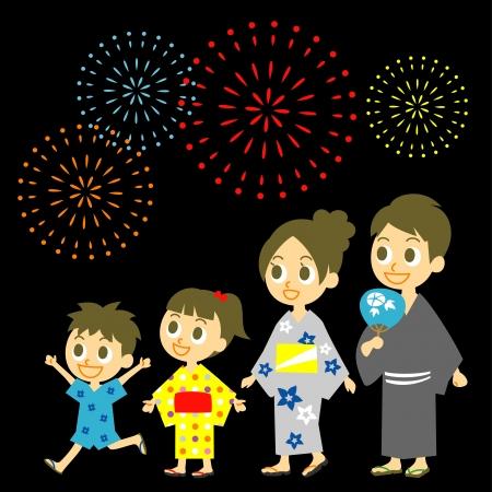 일본의 불꽃 놀이, 유카타의 가정, 여름의 기모노