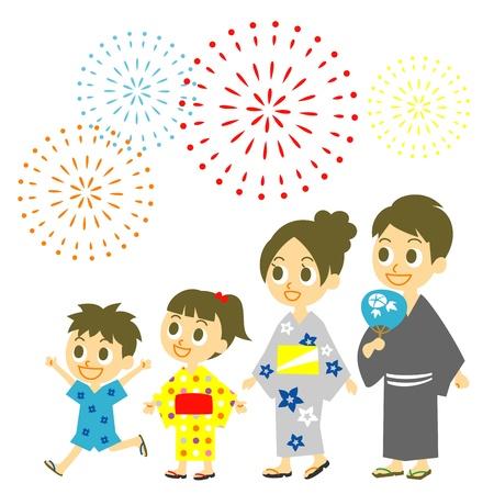 Fireworks display in Japan,  Family in yukata, kimono for summer Illusztráció