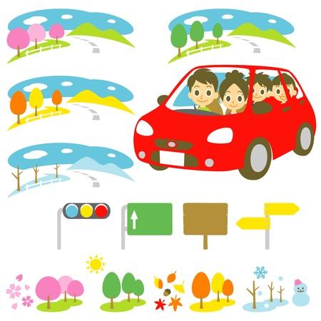 Familie in een auto, rijden, vier seizoenen