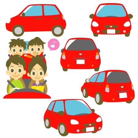 asiento coche: Familia en un coche, ilustración coche rojo