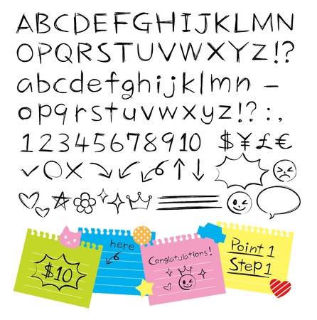 pencil hand drawn style alphabets set