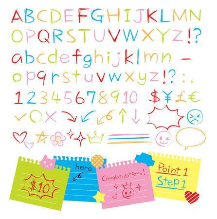 Colored pencil hand drawn style alphabets set Illustration