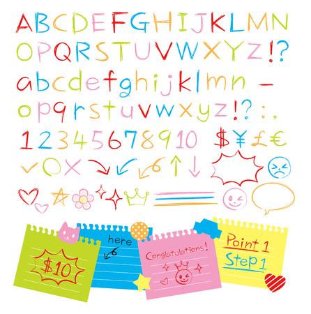 Colored pencil hand drawn style alphabets set Ilustração