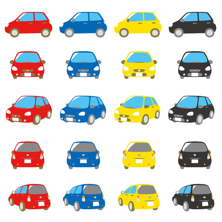 front and back: colorful cars set