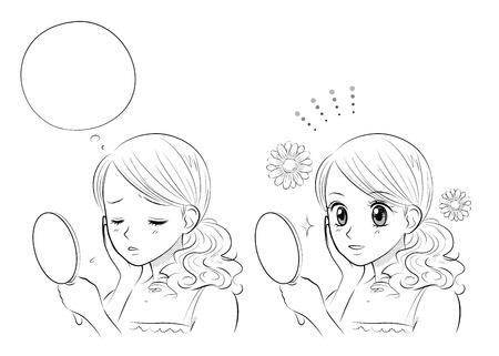 여성 스킨 케어, 일본 만화 스타일 일러스트